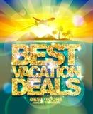 Best vacation deals poster, advertising design mock up with golden headline Stock Photos