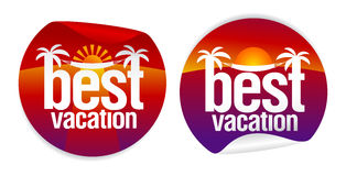 Best vacation labels. Royalty Free Stock Images