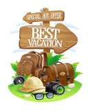 Best vacation poster, special hot offer travel advertising design. Wooden pointer boards with bag and backpack, sunglasses, etc stock illustration