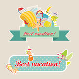 Best vacation retro labels set. Colored illustration. EPS 10.0. RGB. Illustration can be used as template for travel's leaflets and post cards. This Stock Photo