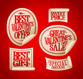 Best Valentine`s day sale stickers set Stock Images