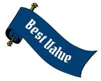 BEST VALUE on blue paper scroll cartoon. Stock Photo