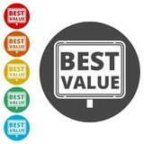 Best Value Button, Best value sign. Simple vector icons set Stock Image