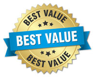 Best value 3d gold badge. With blue ribbon Royalty Free Stock Photo