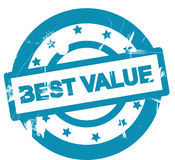 Best value. Poster or stamp with the words Sold out in blue on white. Scratched or grunge style Royalty Free Stock Images