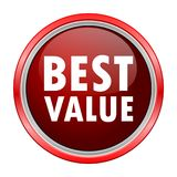 Best Value round metallic red button Royalty Free Stock Photo
