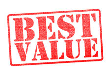 BEST VALUE Rubber Stamp. BEST VALUE red rubber stamp over a white background stock image