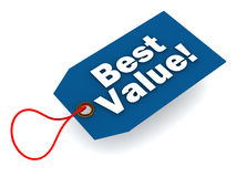Best value. Tag in blue, over white background, concept of value and economy products and service Royalty Free Stock Image