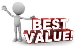 Best value. Words next to a little man on white, concept of good return on spending royalty free illustration