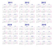 Vector calendar templates 2011, 2012, 2013, 2014, 2015, 2016   Stock Photo