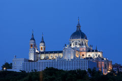 Best view of Almudena Cathedral in Madrid Stock Images