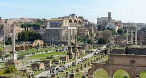 The best view of the ancient Roman Forum from the observation deck of Capitol Hill. The observation deck is located behind the stock photo