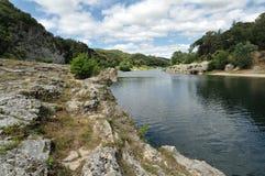 Best view on Gardon river Pont du Gard Royalty Free Stock Photography