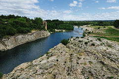 Best view on Gardon river Pont du Gard Stock Image