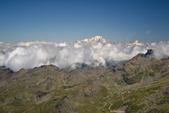 Best view over Mont Blanc. The top of Alps mountains Royalty Free Stock Photography