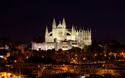 Best view of Palma de Mallorca with the Cathedral Santa Maria. By night Royalty Free Stock Photos