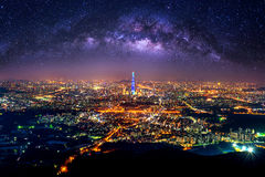 The best view of South Korea with Lotte world mall and Milky way at Namhansanseong Fortress. Stock Photo