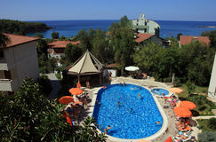 Best view on turkish hotel with swimming pool with blue water an Royalty Free Stock Photography