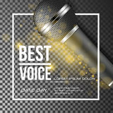 Best voice music poster vector background. Best voice, microphone poster vector illustration Royalty Free Stock Photography