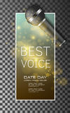 Best voice music poster vector background. Best voice, microphone poster vector illustration Stock Images