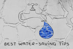 Best water-saving tips: the world in a droplet from the tap (wit. Planet earth in a droplet from the tap (with ocean fill), illustration about water-saving tips Stock Photography