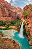 The best waterfalls in the United States. In the Grand Canyon and flow with bright turquoise colored water. Havasu Falls, Supai, Arizona Stock Photos