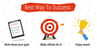 Best Way To Success Infographics. Vector concept best way to success. Concept time management. To do list, target goal, hand with the cup. Three steps to success Stock Image