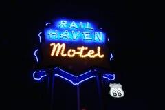 Best Western cerca el motel del asilo con barandilla Motel famoso en Route 66 fotos de archivo