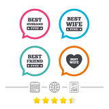 Best wife, husband and friend icons. Stock Photography