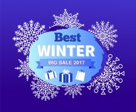 Best Winter Big Sale 2017 Vector Illustration. Best winter big sale 2017, promotional poster with unique snowflakes, headline in circle and ribbon and icon of Royalty Free Stock Photography