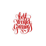 Best winter greetings handwritten lettering text inscription. Holiday phrase, typography banner with brush script for holiday greeting gift poster, calligraphy Stock Photography