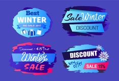Best Winter sale 2017 Price Discount Today Offer. Best winter big sale 2017 price discount -45 today offer -15 best tags set of seasonal labels vector Stock Image