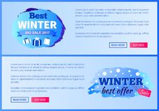 Best Winter Sale 2017 Vector Landing Page Posters. Best winter big sale 2017 vector illustration landing pages design with place for ext informing about Royalty Free Stock Image