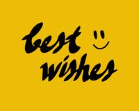 Best wishes card with minimalism hand drawn smiled face. Handwritten modern black lettering composition isolated on yellow background. Vector design element vector illustration