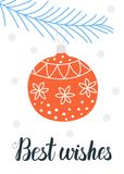 Best wishes card vector illustration. Best wishes Christmas card design. Vector illustration Royalty Free Stock Image