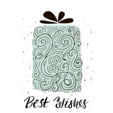 Best wishes. Christmas trendy design greeting card. Holiday winter template with handwritten lettering . X mass  background. Stock Photography