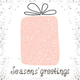 Best wishes. Christmas trendy design greeting card. Holiday winter template with handwritten lettering . X mass  background. Stock Photo