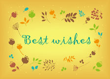 Best wishes. Floral card Stock Photography