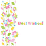 Best wishes flowery greeting card Royalty Free Stock Images