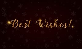 Best wishes!. Golden glitter hand lettering greeting card. Luxurious design element, vector illustration Royalty Free Stock Images
