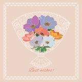 Best wishes greeting card. Background with decorative floral bouquet.Greeting card for any occasion royalty free illustration