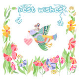 Best wishes Greetings with doodle design Stock Images