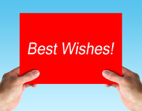 Best Wishes. Hand holding a red card with text Best Wishes. isolated on white royalty free stock image