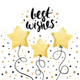 Best wishes- holiday unique handwritten lettering with balloons made in gold foil style. Greeting trendy background. Best wishes- holiday unique handwritten Stock Images