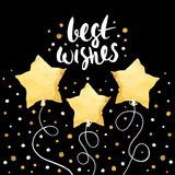 Best wishes- holiday unique handwritten lettering with balloons made in gold foil style. Greeting trendy background. Royalty Free Stock Image
