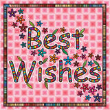 Best Wishes. Illustration design best wishes card pink color frame flowers leaves background graphic Stock Photos