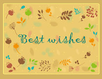Best wishes inscription with floral background. Vector Illustration Stock Photography