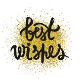 Best wishes inscription. Glitter confetti. royalty free illustration