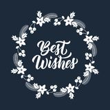 Best Wishes Inscription In White Ink And Christmas Greeting Wreath With Rowanberry, Fir Branches, Poinsettia. Round Frame For Stock Photography