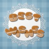 Gingerbread cookie letters. Best wishes inscription made of gingerbread cookies with icing on lace doily. Vector Illustration Stock Images